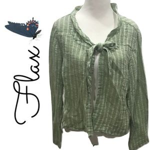 Flax Size S Top Linen Check Lagenlook Casual 2011
